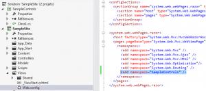 Figure 3: enregistrement du namespace contenant le composant