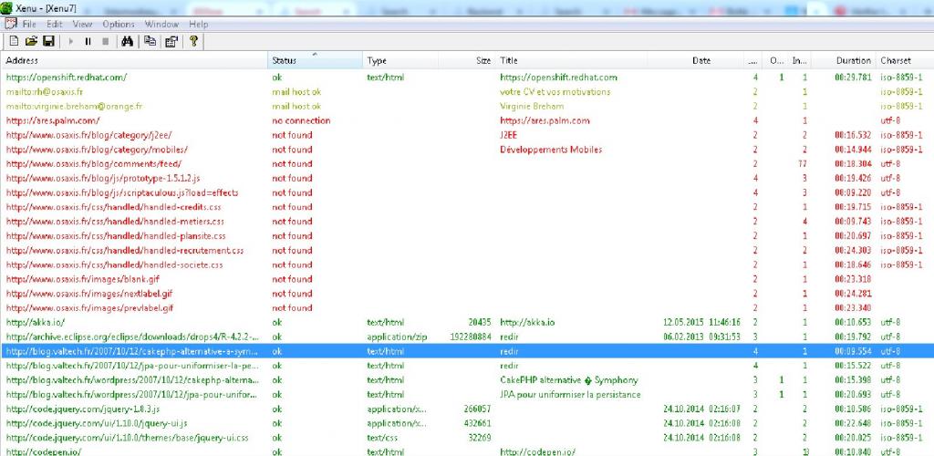 Figure 12 : Xenu nous remonte la liste des liens cassé qui apparaissent ici en rouge
