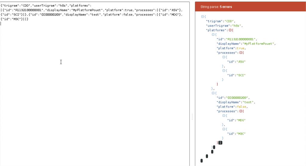 Figure 3 : JsonParser indente et colorie le JSON en entrée. Ici le JSON est mal formé, il manque une accolade