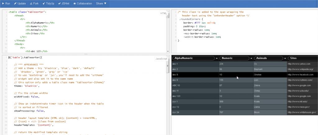Figure 7 : JSFIDDLE se décompose en quatre cadrans : HTML, CSS, JavaScript et rendu