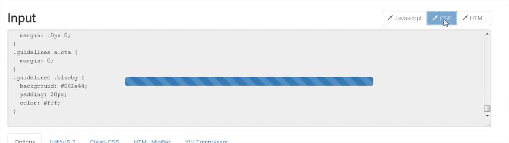 Figure 8 : Refresh-CSS est en train de transformer notre feuille CSS afin qu'elle prenne le moins de poids possible
