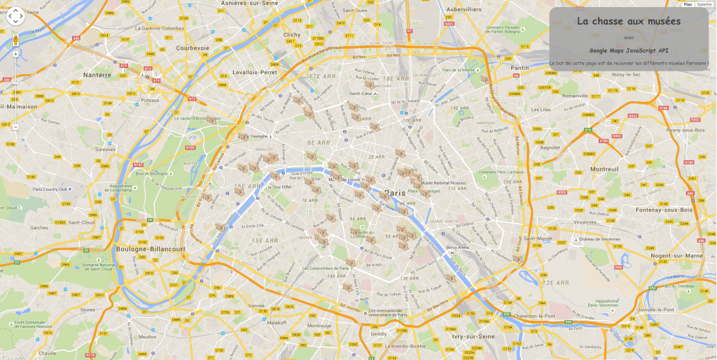 Carte de musées parisiens au 5 juin 2015